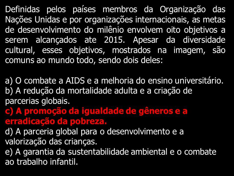 Definidas pelos países membros da Organização das Nações Unidas e por organizações internacionais, as metas de desenvolvimento do milênio envolvem oit