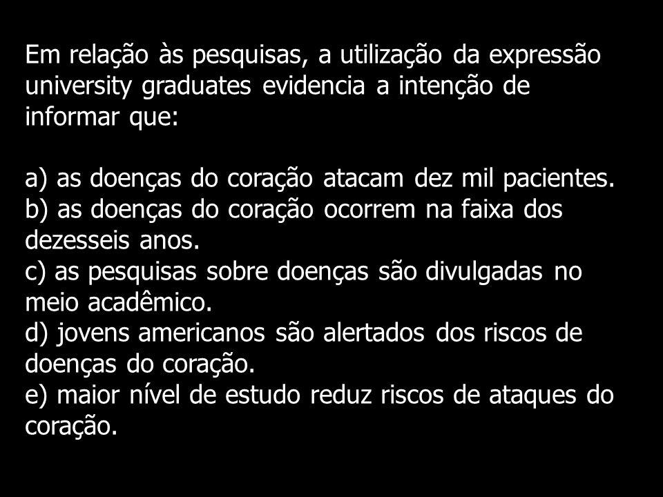 Em relação às pesquisas, a utilização da expressão university graduates evidencia a intenção de informar que: a) as doenças do coração atacam dez mil pacientes.