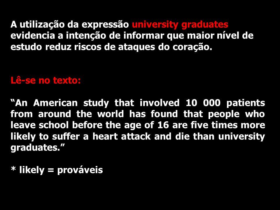 A utilização da expressão university graduates evidencia a intenção de informar que maior nível de estudo reduz riscos de ataques do coração.