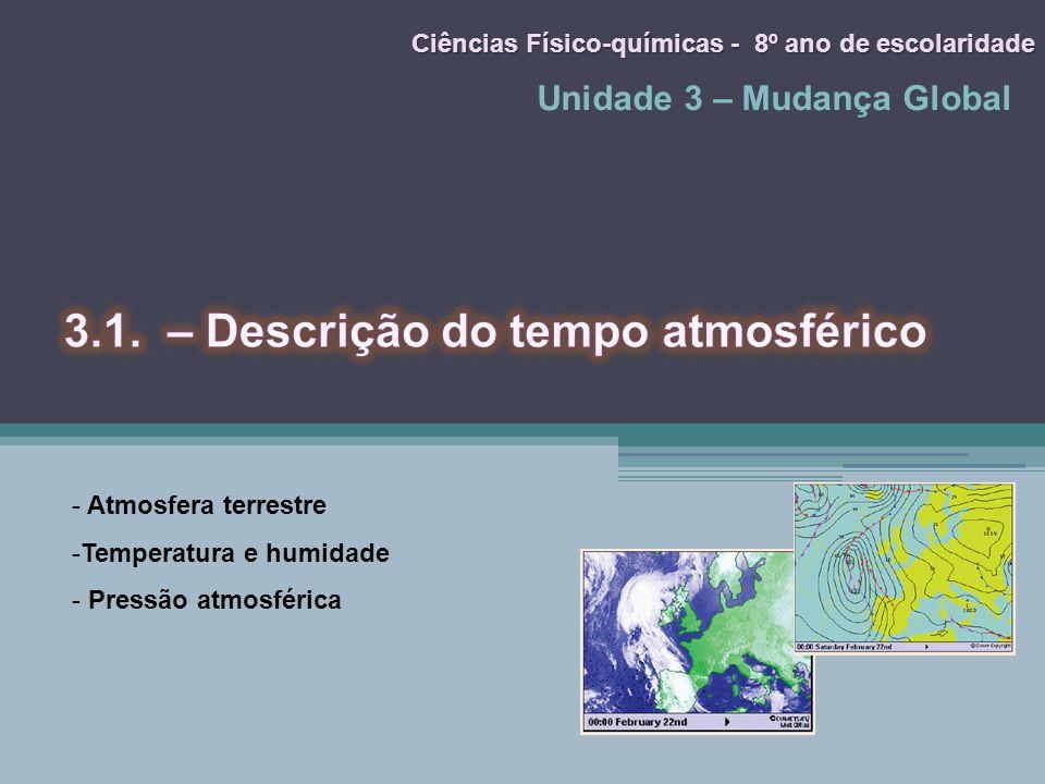 Unidade 3 – Mudança Global Ciências Físico-químicas - 8º ano de escolaridade - Atmosfera terrestre -Temperatura e humidade - Pressão atmosférica