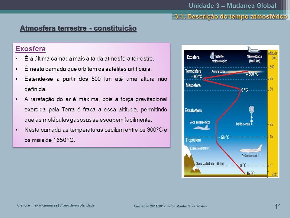 Unidade 3 – Mudança Global Ciências Físico-Químicas | 8º ano de escolaridade 11 Ano letivo 2011/2012 | Prof. Marília Silva Soares Atmosfera terrestre