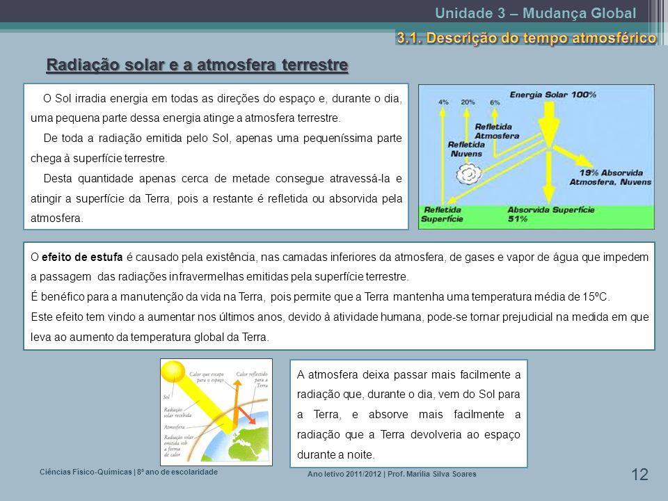 Unidade 3 – Mudança Global Ciências Físico-Químicas | 8º ano de escolaridade 12 Ano letivo 2011/2012 | Prof. Marília Silva Soares Radiação solar e a a