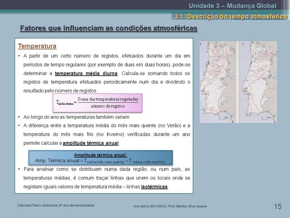 Unidade 3 – Mudança Global Ciências Físico-Químicas | 8º ano de escolaridade 15 Ano letivo 2011/2012 | Prof. Marília Silva Soares Fatores que influenc