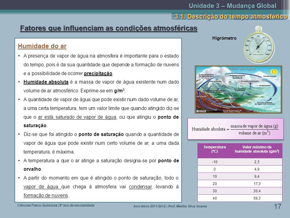 Unidade 3 – Mudança Global Ciências Físico-Químicas | 8º ano de escolaridade 17 Ano letivo 2011/2012 | Prof. Marília Silva Soares Fatores que influenc