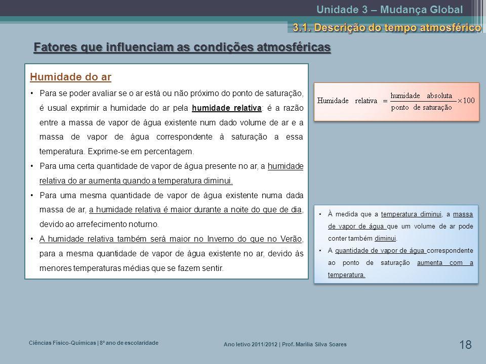 Unidade 3 – Mudança Global Ciências Físico-Químicas | 8º ano de escolaridade 18 Ano letivo 2011/2012 | Prof. Marília Silva Soares Fatores que influenc