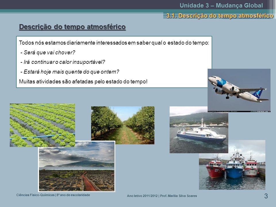 Unidade 3 – Mudança Global Ciências Físico-Químicas | 8º ano de escolaridade 3 Ano letivo 2011/2012 | Prof. Marília Silva Soares Descrição do tempo at