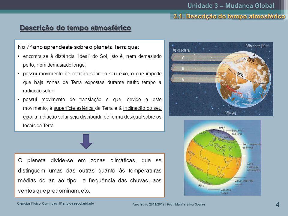 Unidade 3 – Mudança Global Ciências Físico-Químicas | 8º ano de escolaridade 4 Ano letivo 2011/2012 | Prof. Marília Silva Soares Descrição do tempo at