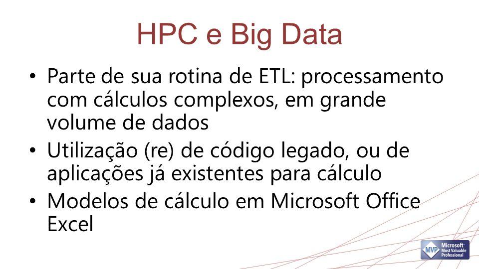 HPC e Big Data Parte de sua rotina de ETL: processamento com cálculos complexos, em grande volume de dados Utilização (re) de código legado, ou de aplicações já existentes para cálculo Modelos de cálculo em Microsoft Office Excel