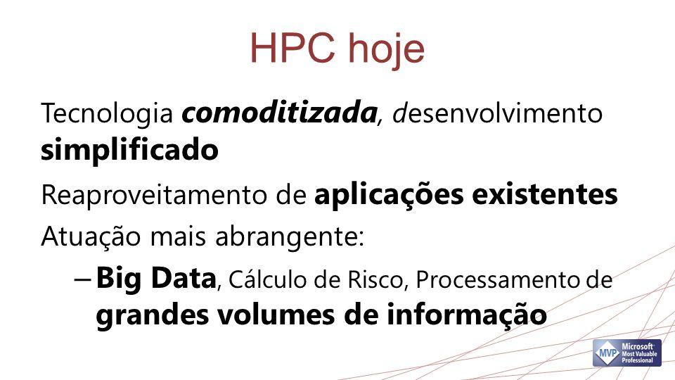 HPC hoje Tecnologia comoditizada, desenvolvimento simplificado Reaproveitamento de aplicações existentes Atuação mais abrangente: – Big Data, Cálculo