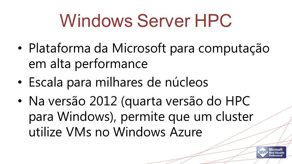 Windows Server HPC Plataforma da Microsoft para computação em alta performance Escala para milhares de núcleos Na versão 2012 (quarta versão do HPC para Windows), permite que um cluster utilize VMs no Windows Azure