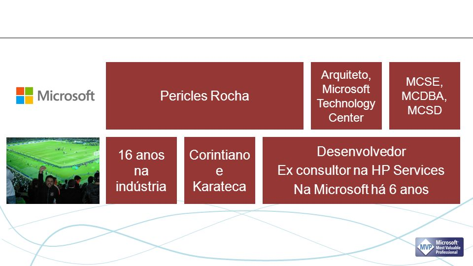 Pericles Rocha Desenvolvedor Ex consultor na HP Services Na Microsoft há 6 anos Arquiteto, Microsoft Technology Center MCSE, MCDBA, MCSD 16 anos na indústria Corintiano e Karateca