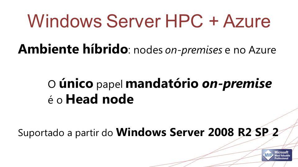 Windows Server HPC + Azure Ambiente híbrido : nodes on-premises e no Azure O único papel mandatório on-premise é o Head node Suportado a partir do Win