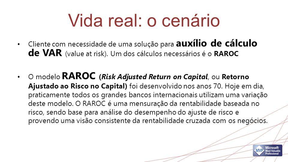 Vida real: o cenário Cliente com necessidade de uma solução para auxílio de cálculo de VAR (value at risk). Um dos cálculos necessários é o RAROC O mo
