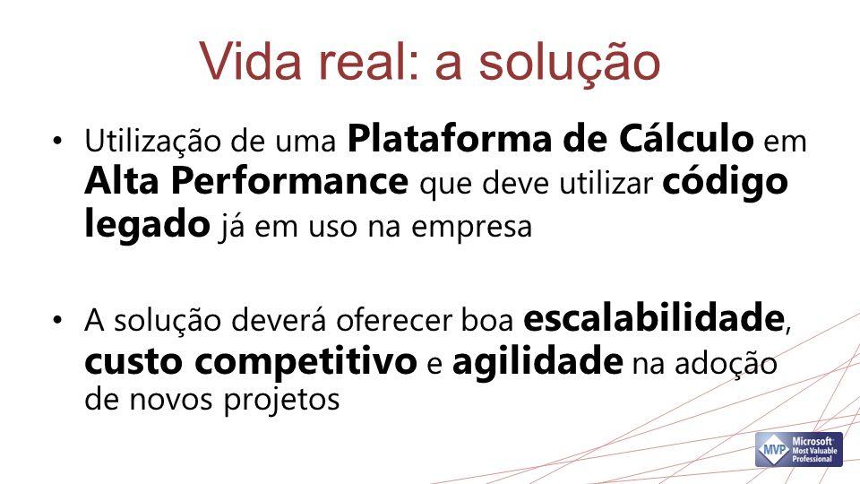 Vida real: a solução Utilização de uma Plataforma de Cálculo em Alta Performance que deve utilizar código legado já em uso na empresa A solução deverá oferecer boa escalabilidade, custo competitivo e agilidade na adoção de novos projetos