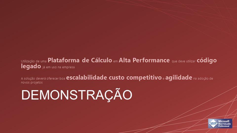 DEMONSTRAÇÃO Utilização de uma Plataforma de Cálculo em Alta Performance que deve utilizar código legado já em uso na empresa A solução deverá oferece