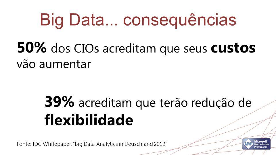 Big Data... consequências 50% dos CIOs acreditam que seus custos vão aumentar 39% acreditam que terão redução de flexibilidade Fonte: IDC Whitepaper,