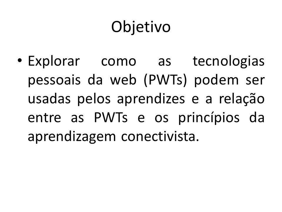 Objetivo Explorar como as tecnologias pessoais da web (PWTs) podem ser usadas pelos aprendizes e a relação entre as PWTs e os princípios da aprendizag