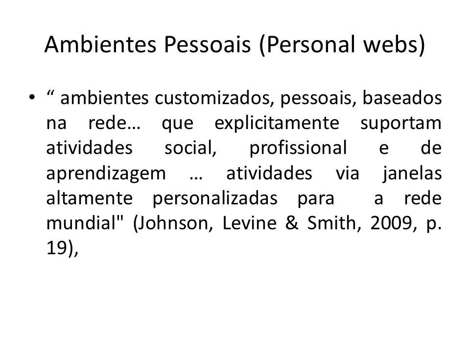 Ambientes Pessoais (Personal webs) ambientes customizados, pessoais, baseados na rede… que explicitamente suportam atividades social, profissional e d