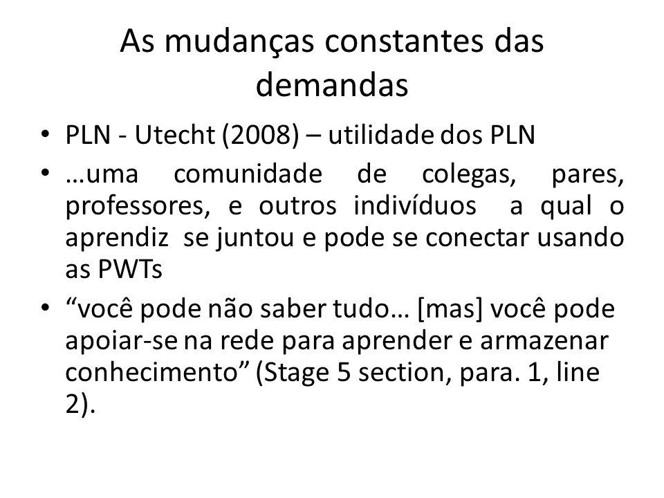 As mudanças constantes das demandas PLN - Utecht (2008) – utilidade dos PLN …uma comunidade de colegas, pares, professores, e outros indivíduos a qual