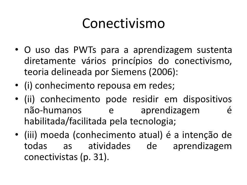 Conectivismo O uso das PWTs para a aprendizagem sustenta diretamente vários princípios do conectivismo, teoria delineada por Siemens (2006): (i) conhe