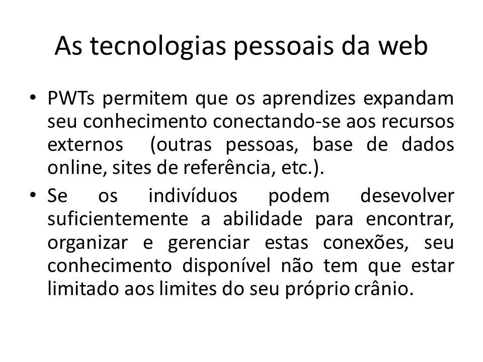 As tecnologias pessoais da web PWTs permitem que os aprendizes expandam seu conhecimento conectando-se aos recursos externos (outras pessoas, base de