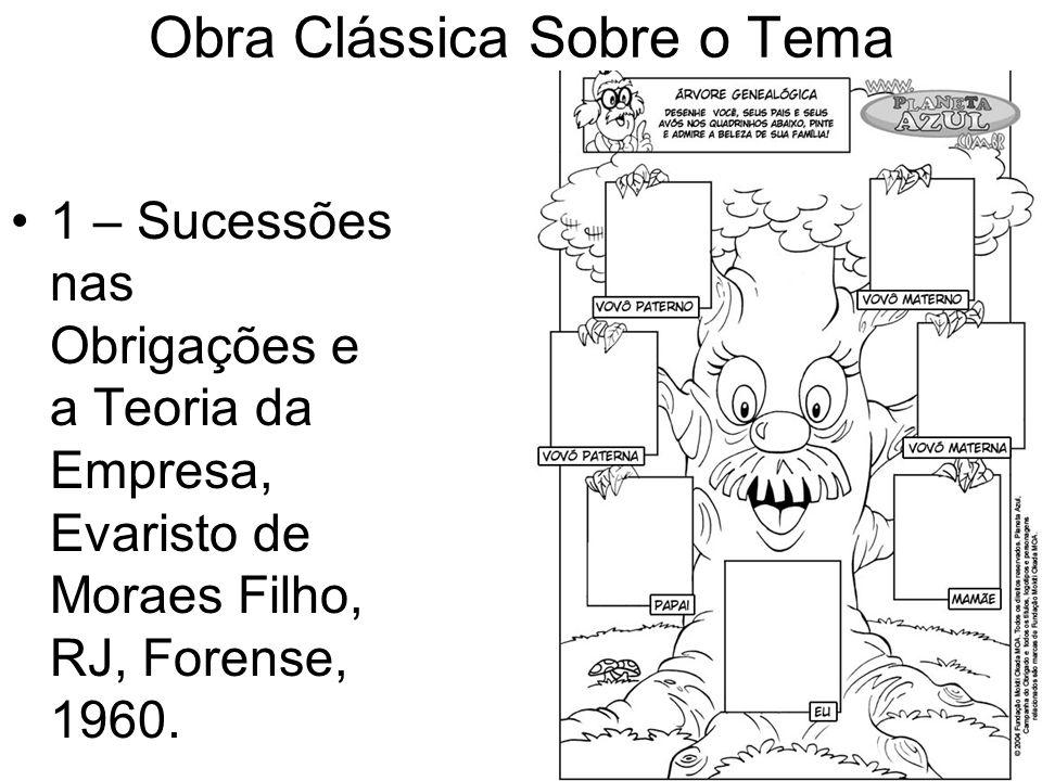 Obra Clássica Sobre o Tema 1 – Sucessões nas Obrigações e a Teoria da Empresa, Evaristo de Moraes Filho, RJ, Forense, 1960.