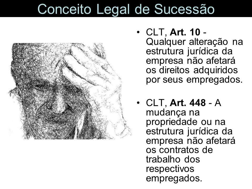 Conceito Legal de Sucessão CLT, Art. 10 - Qualquer alteração na estrutura jurídica da empresa não afetará os direitos adquiridos por seus empregados.