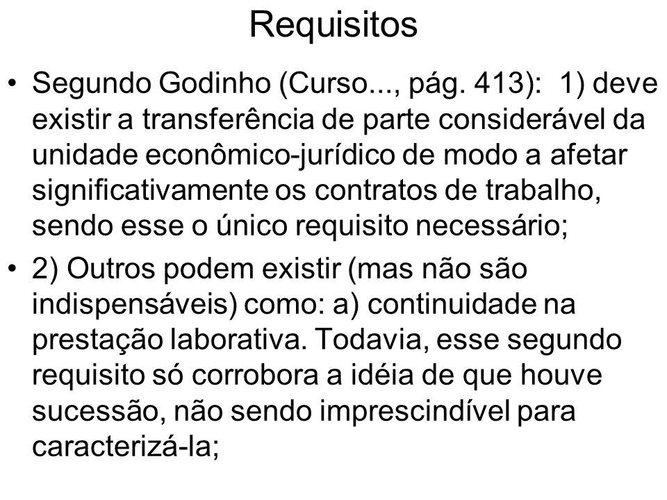 Requisitos Segundo Godinho (Curso..., pág. 413): 1) deve existir a transferência de parte considerável da unidade econômico-jurídico de modo a afetar