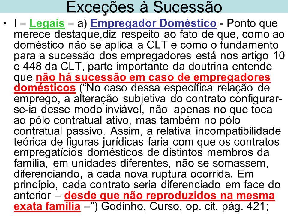 Exceções à Sucessão I – Legais – a) Empregador Doméstico - Ponto que merece destaque,diz respeito ao fato de que, como ao doméstico não se aplica a CL