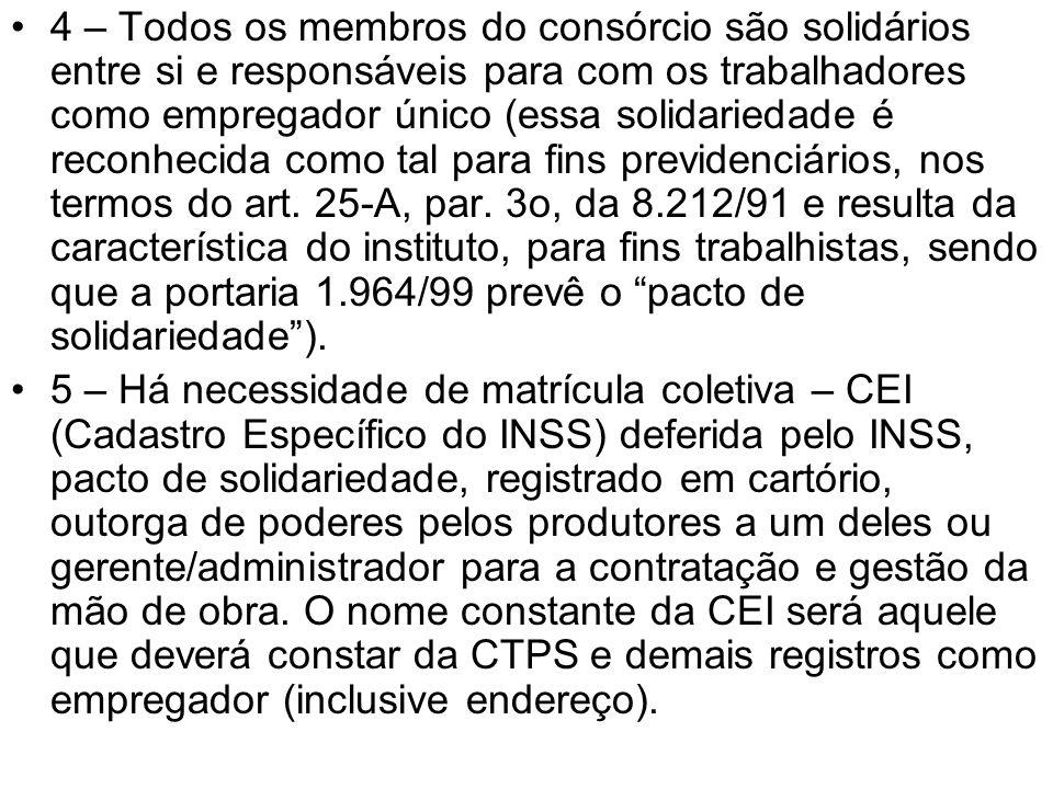 4 – Todos os membros do consórcio são solidários entre si e responsáveis para com os trabalhadores como empregador único (essa solidariedade é reconhe