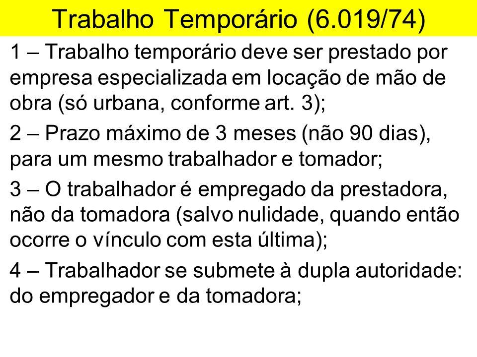 Trabalho Temporário (6.019/74) 1 – Trabalho temporário deve ser prestado por empresa especializada em locação de mão de obra (só urbana, conforme art.