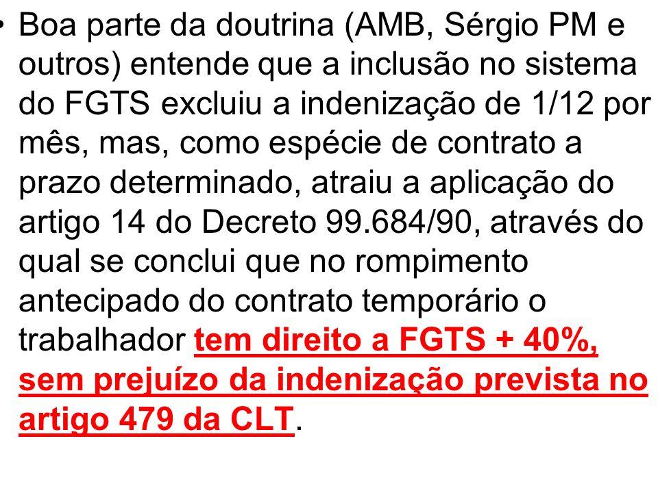 Boa parte da doutrina (AMB, Sérgio PM e outros) entende que a inclusão no sistema do FGTS excluiu a indenização de 1/12 por mês, mas, como espécie de