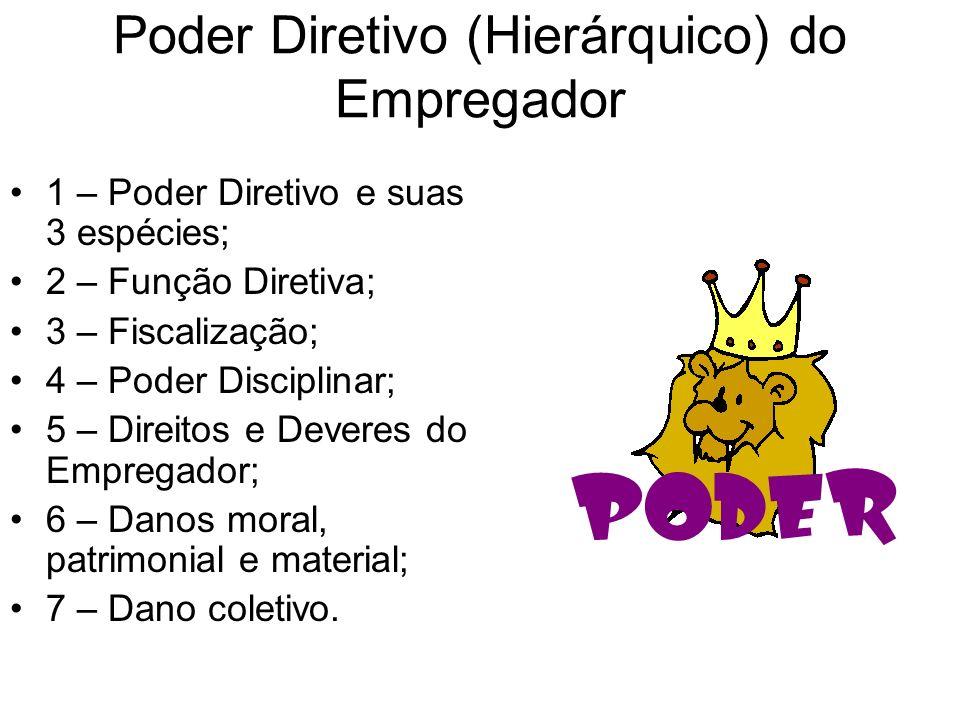 Poder Diretivo (Hierárquico) do Empregador 1 – Poder Diretivo e suas 3 espécies; 2 – Função Diretiva; 3 – Fiscalização; 4 – Poder Disciplinar; 5 – Dir