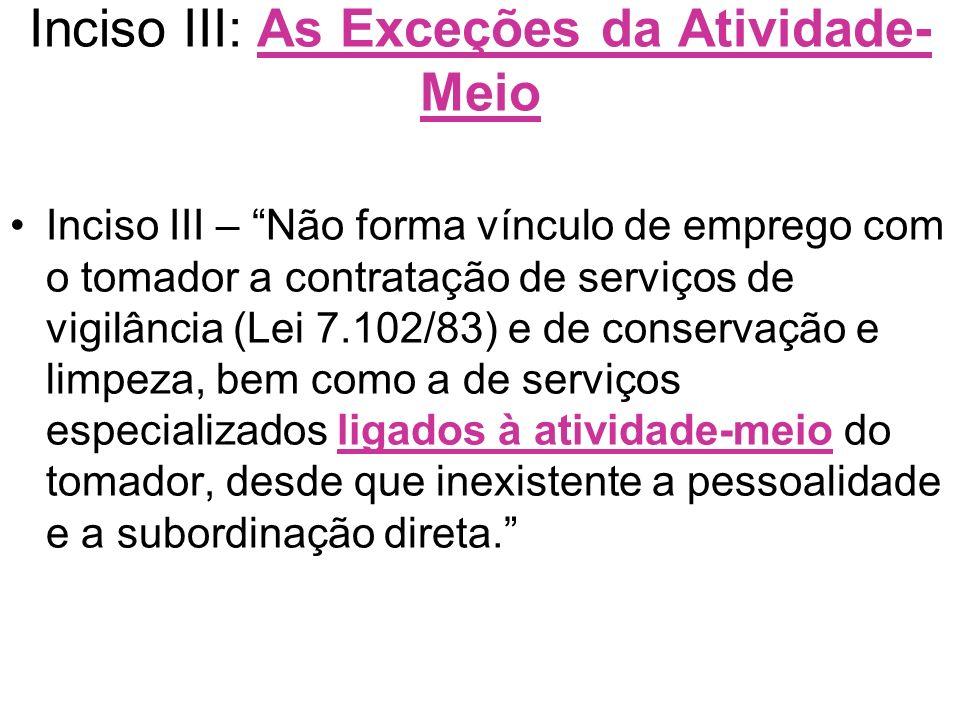 Inciso III: As Exceções da Atividade- Meio Inciso III – Não forma vínculo de emprego com o tomador a contratação de serviços de vigilância (Lei 7.102/