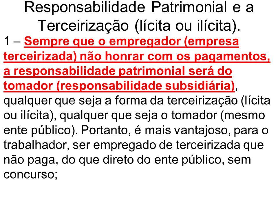 Responsabilidade Patrimonial e a Terceirização (lícita ou ilícita). 1 – Sempre que o empregador (empresa terceirizada) não honrar com os pagamentos, a