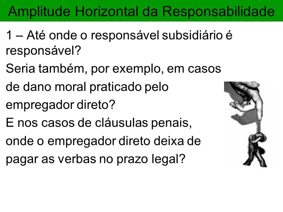 Amplitude Horizontal da Responsabilidade 1 – Até onde o responsável subsidiário é responsável? Seria também, por exemplo, em casos de dano moral prati