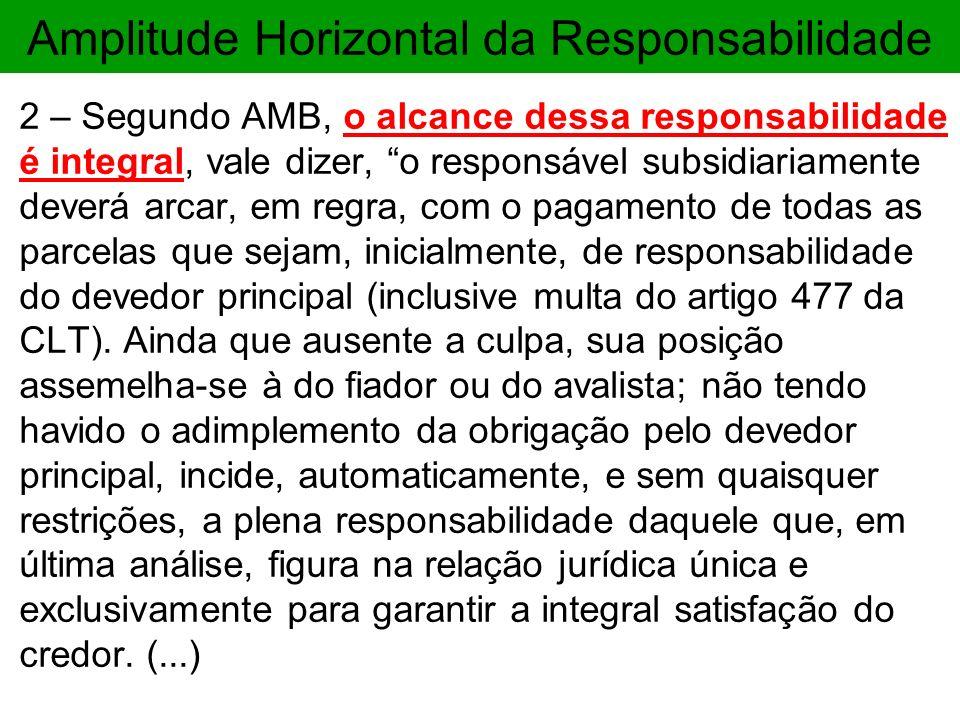 Amplitude Horizontal da Responsabilidade 2 – Segundo AMB, o alcance dessa responsabilidade é integral, vale dizer, o responsável subsidiariamente deve