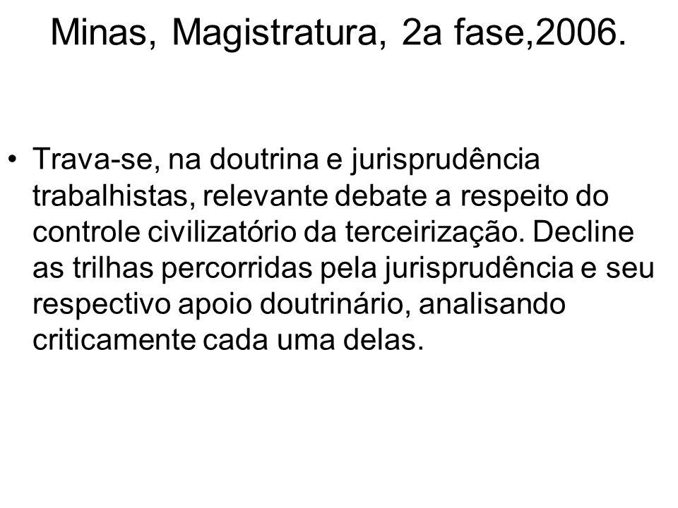 Minas, Magistratura, 2a fase,2006. Trava-se, na doutrina e jurisprudência trabalhistas, relevante debate a respeito do controle civilizatório da terce