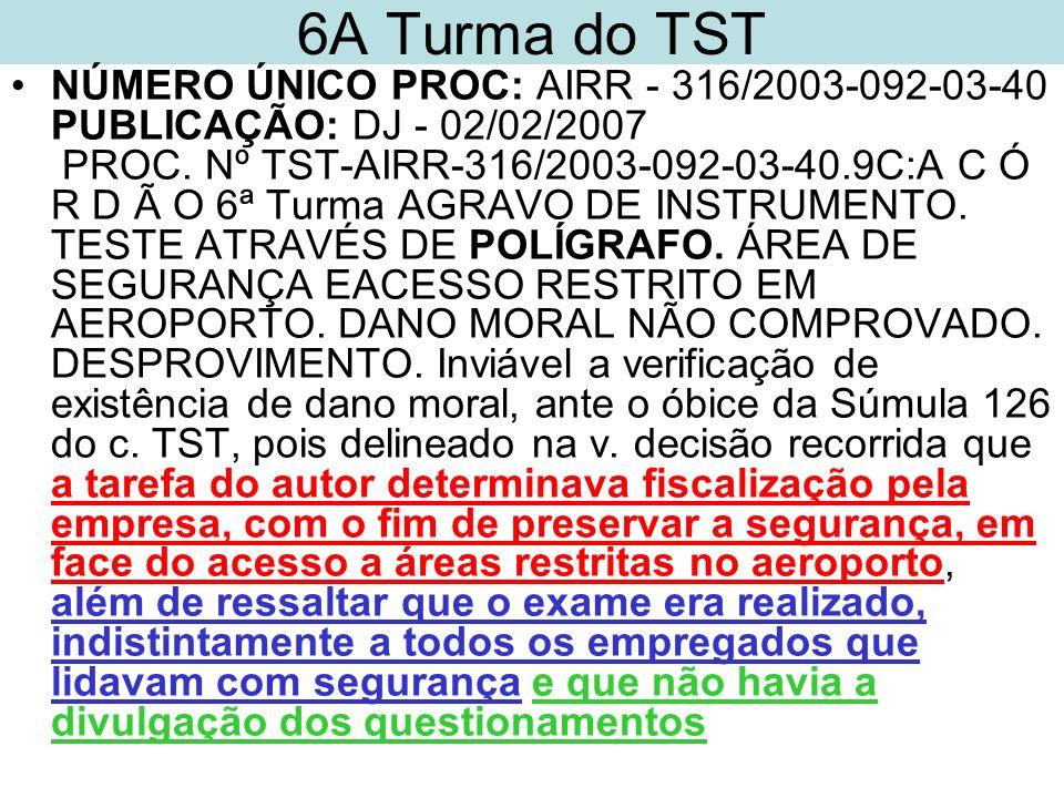 6A Turma do TST NÚMERO ÚNICO PROC: AIRR - 316/2003-092-03-40 PUBLICAÇÃO: DJ - 02/02/2007 PROC. Nº TST-AIRR-316/2003-092-03-40.9C:A C Ó R D Ã O 6ª Turm