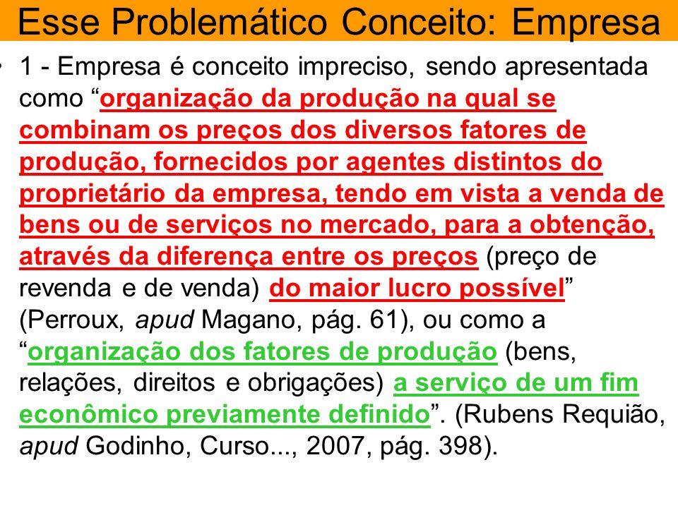 Esse Problemático Conceito: Empresa 1 - Empresa é conceito impreciso, sendo apresentada como organização da produção na qual se combinam os preços dos