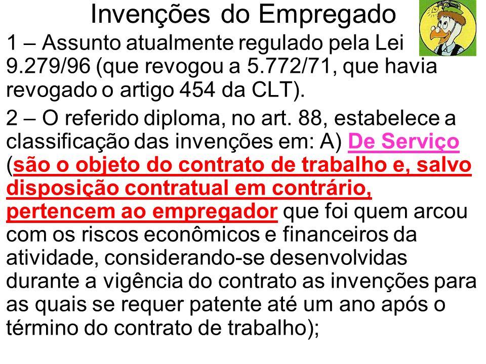 Invenções do Empregado 1 – Assunto atualmente regulado pela Lei 9.279/96 (que revogou a 5.772/71, que havia revogado o artigo 454 da CLT). 2 – O refer