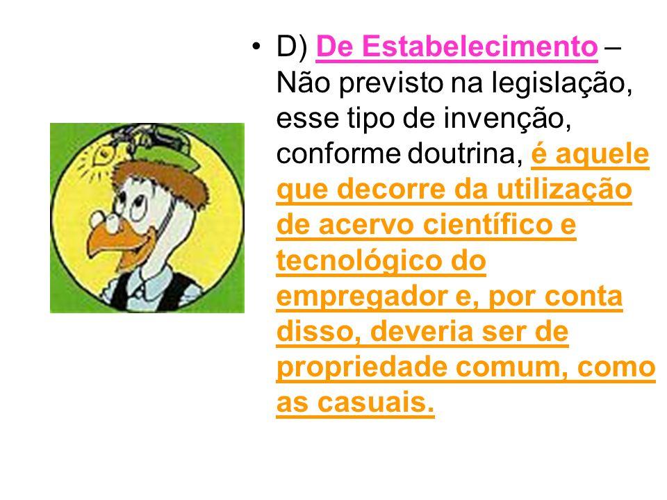 D) De Estabelecimento – Não previsto na legislação, esse tipo de invenção, conforme doutrina, é aquele que decorre da utilização de acervo científico