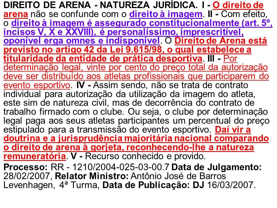 DIREITO DE ARENA - NATUREZA JURÍDICA. I - O direito de arena não se confunde com o direito à imagem. II - Com efeito, o direito à imagem é assegurado