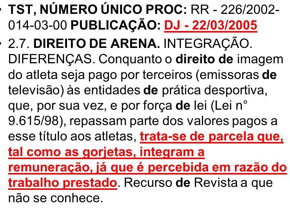 TST, NÚMERO ÚNICO PROC: RR - 226/2002- 014-03-00 PUBLICAÇÃO: DJ - 22/03/2005 2.7. DIREITO DE ARENA. INTEGRAÇÃO. DIFERENÇAS. Conquanto o direito de ima