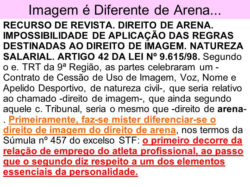 Imagem é Diferente de Arena... RECURSO DE REVISTA. DIREITO DE ARENA. IMPOSSIBILIDADE DE APLICAÇÃO DAS REGRAS DESTINADAS AO DIREITO DE IMAGEM. NATUREZA