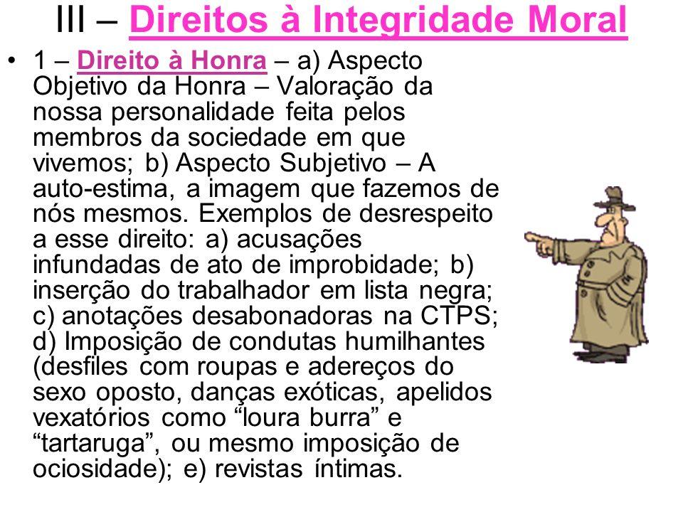 III – Direitos à Integridade Moral 1 – Direito à Honra – a) Aspecto Objetivo da Honra – Valoração da nossa personalidade feita pelos membros da socied