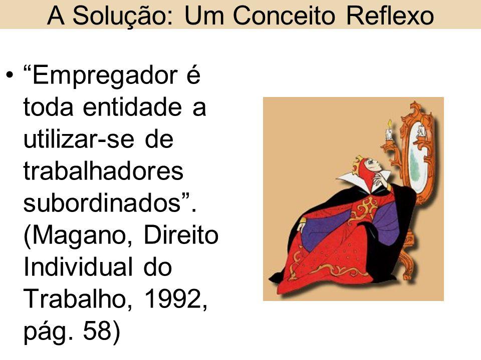 A Solução: Um Conceito Reflexo Empregador é toda entidade a utilizar-se de trabalhadores subordinados. (Magano, Direito Individual do Trabalho, 1992,