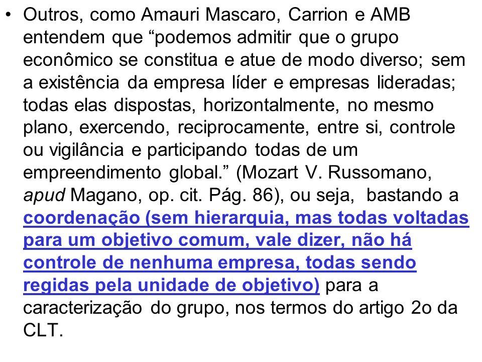 Outros, como Amauri Mascaro, Carrion e AMB entendem que podemos admitir que o grupo econômico se constitua e atue de modo diverso; sem a existência da