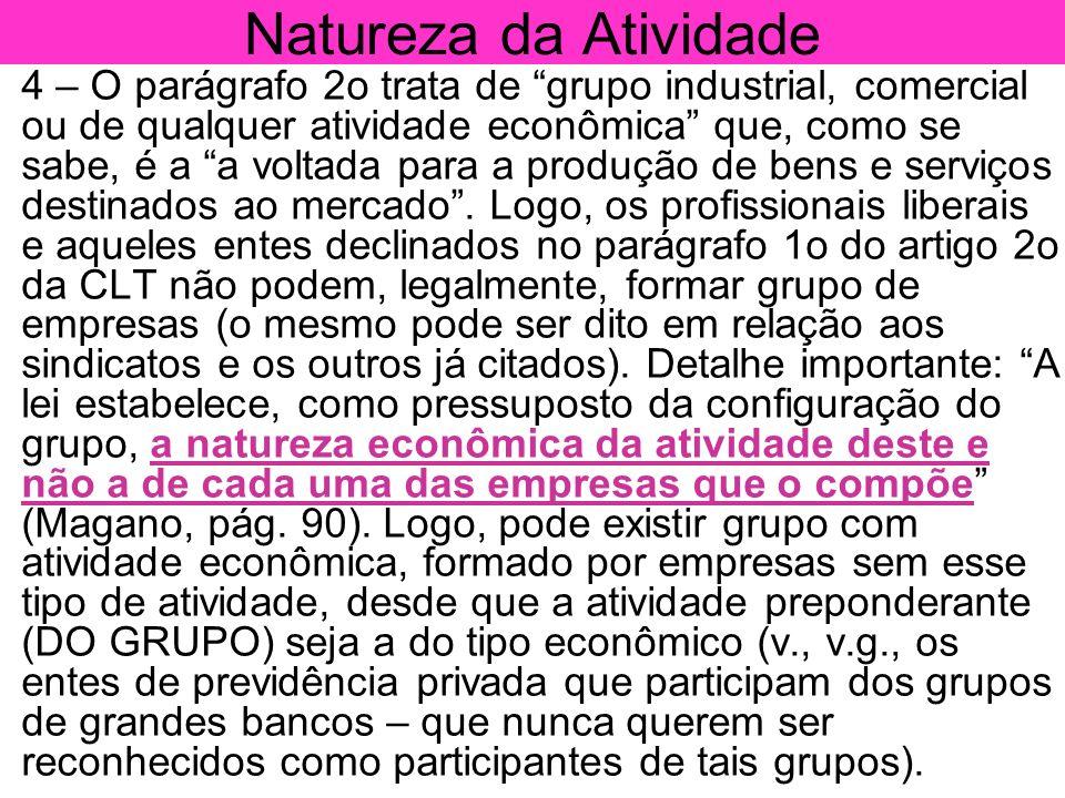 Natureza da Atividade 4 – O parágrafo 2o trata de grupo industrial, comercial ou de qualquer atividade econômica que, como se sabe, é a a voltada para