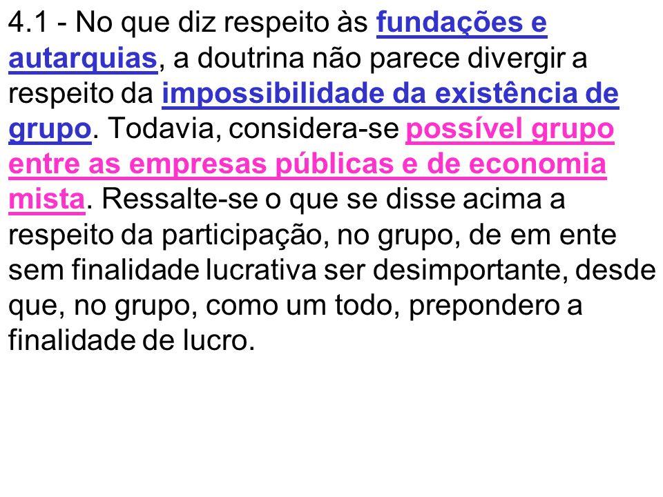 4.1 - No que diz respeito às fundações e autarquias, a doutrina não parece divergir a respeito da impossibilidade da existência de grupo. Todavia, con